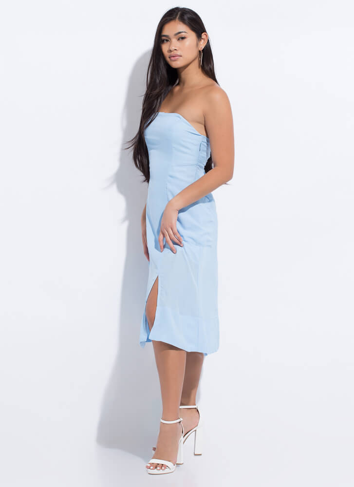 Easy Breezy Beauty Strapless Dress BLUE