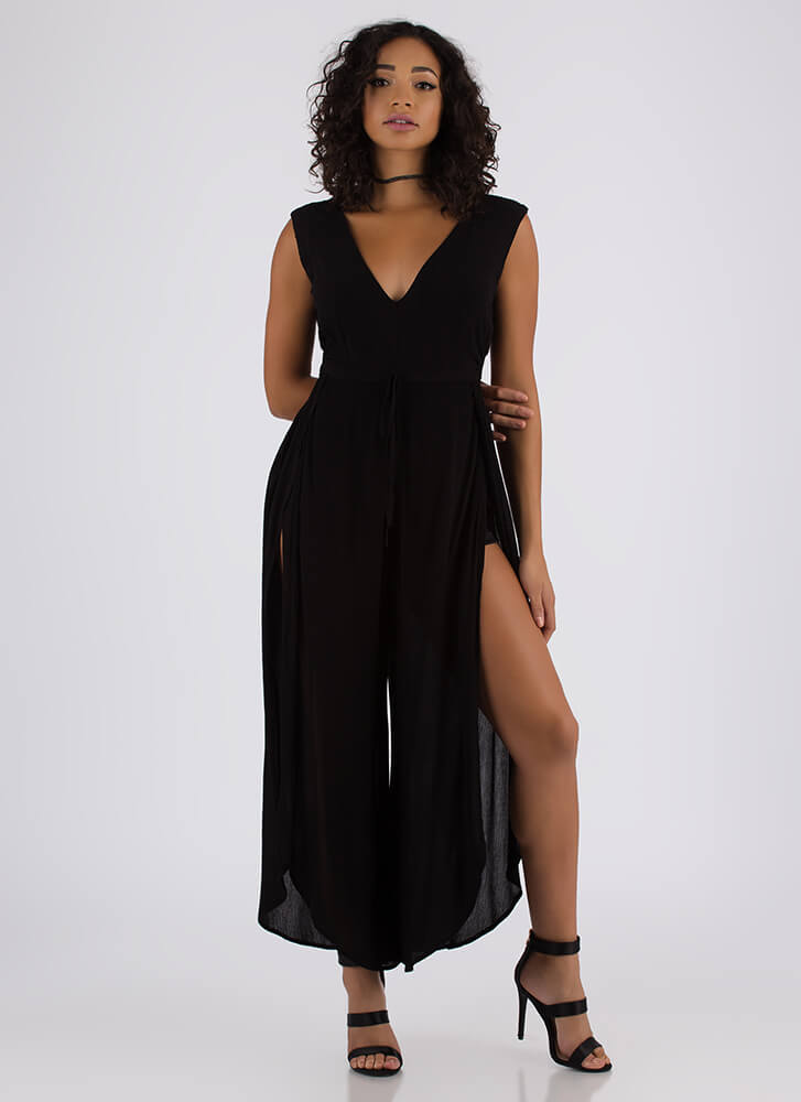 What Floats Your Boat Split-Leg Jumpsuit BLACK