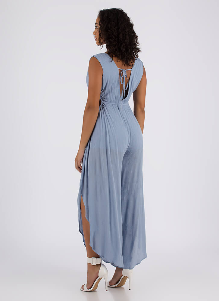 What Floats Your Boat Split-Leg Jumpsuit BLUE