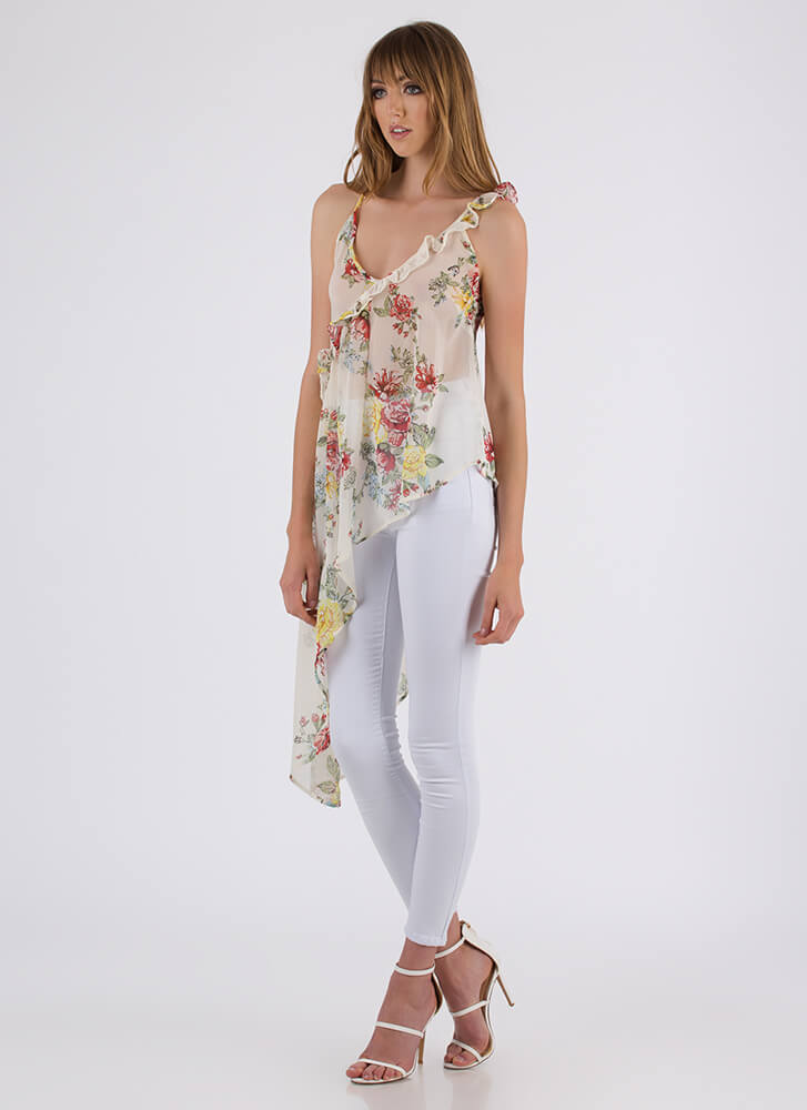 Breath Of Fresh Air Floral High-Low Top IVORY