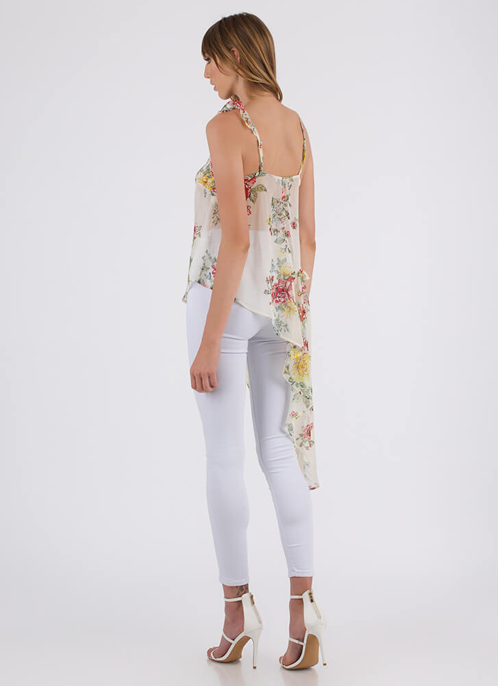 Breath Of Fresh Air Floral High-Low Top IVORY (You Saved $13)