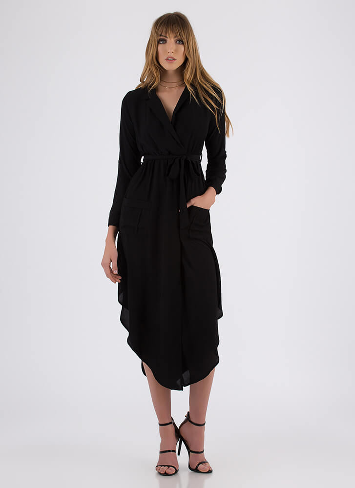 Pardon My Trench Belted High-Low Dress BLACK