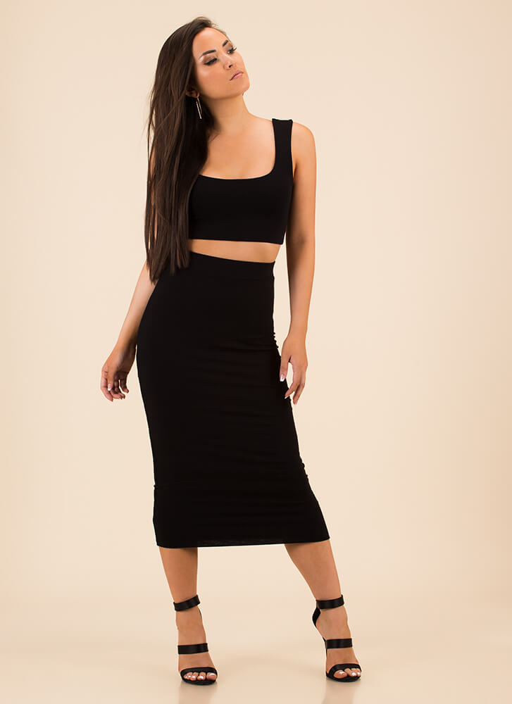 You've Met Your Match Top And Skirt Set BLACK