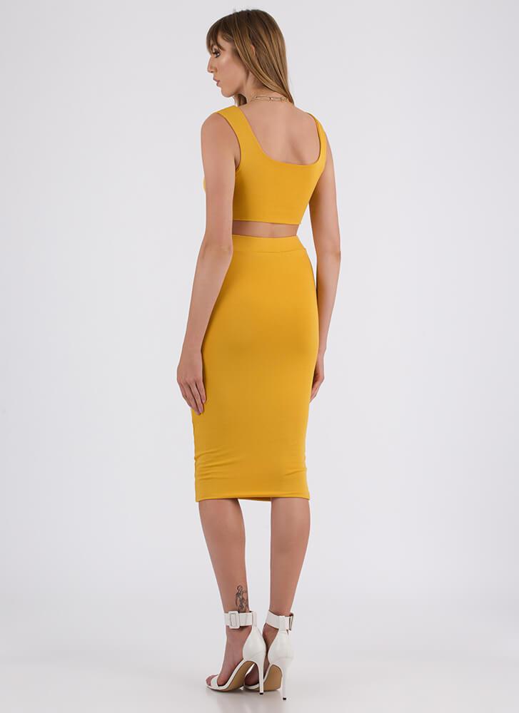 You've Met Your Match Top And Skirt Set MUSTARD