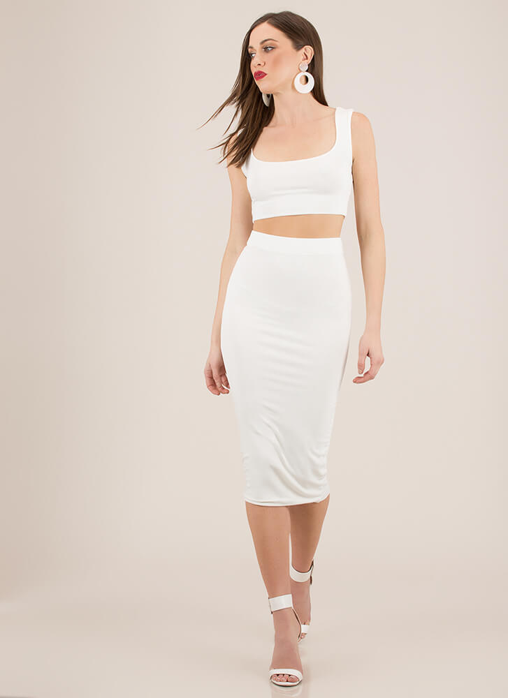 You've Met Your Match Top And Skirt Set OFFWHITE