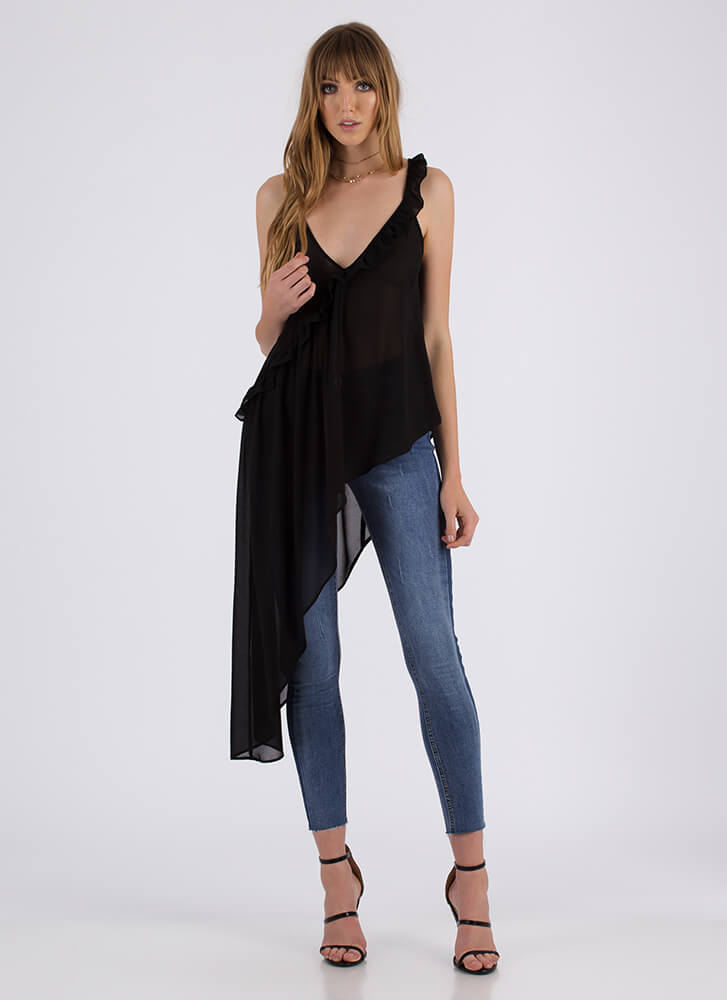 Breath Of Fresh Air Ruffled High-Low Top BLACK