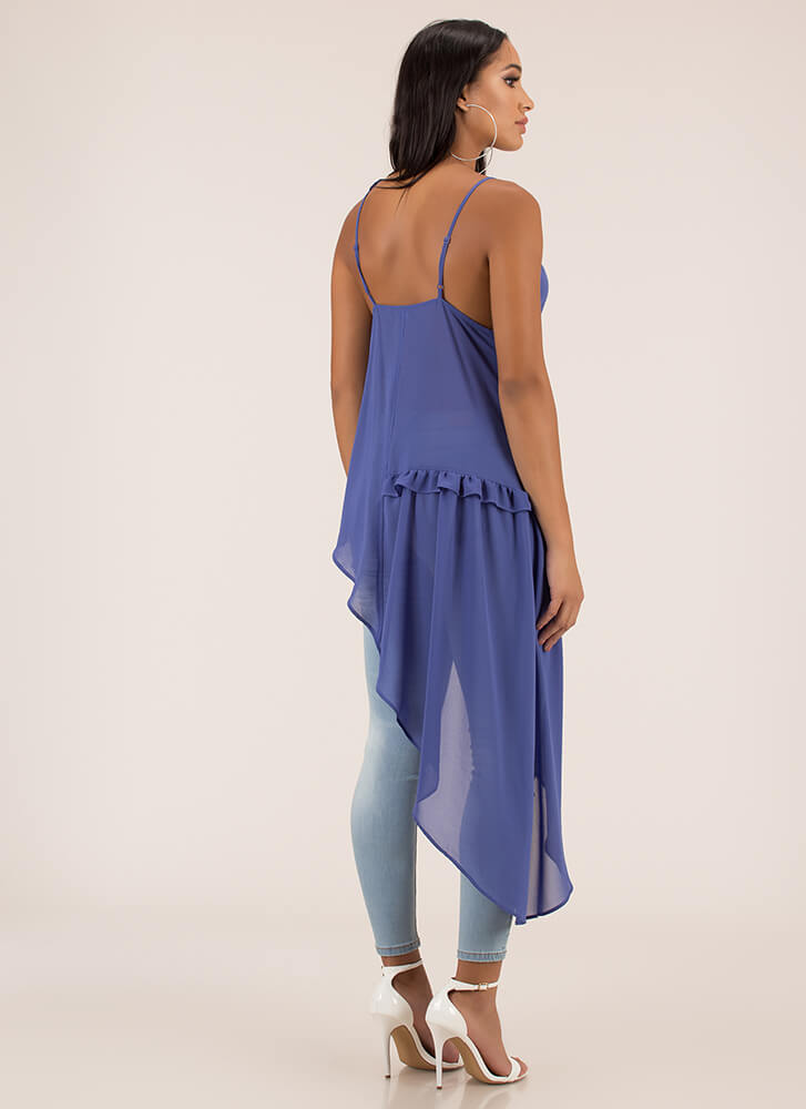 Breath Of Fresh Air Ruffled High-Low Top BLUE