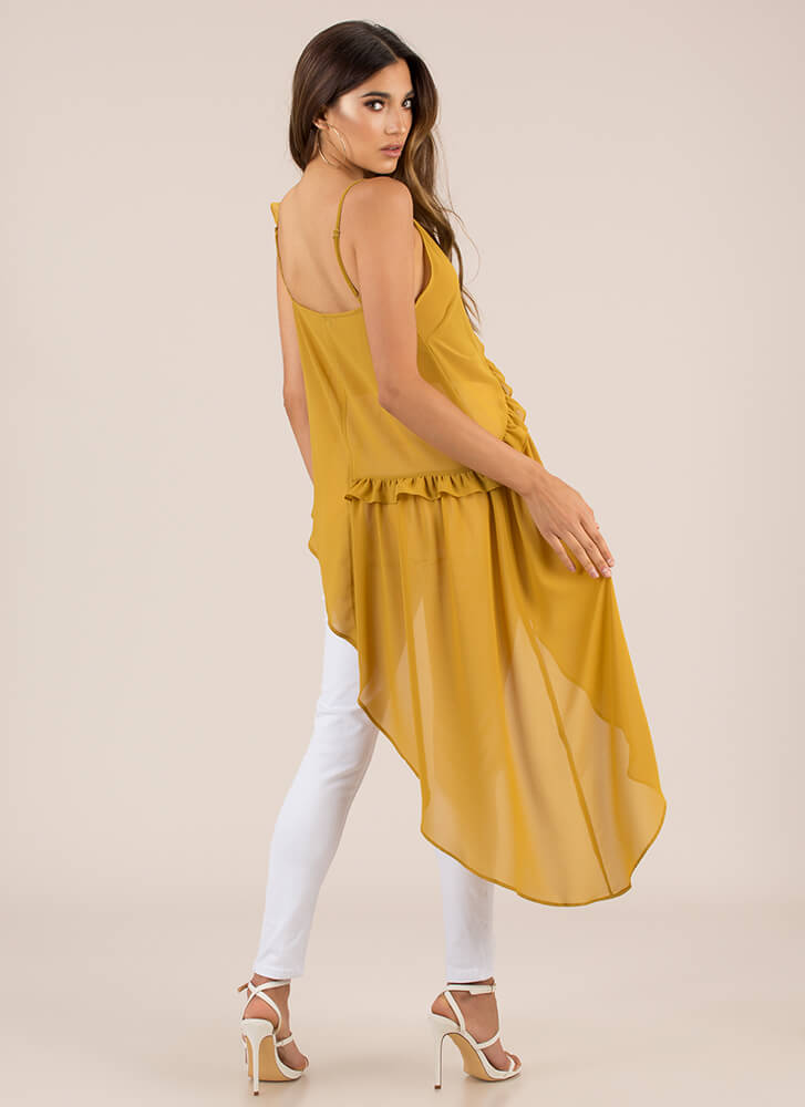 Breath Of Fresh Air Ruffled High-Low Top MUSTARD