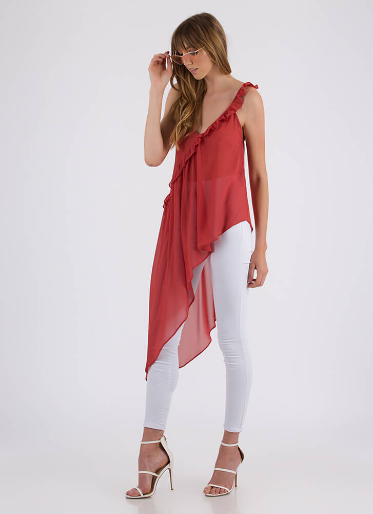 Breath Of Fresh Air Ruffled High-Low Top PAPRIKA