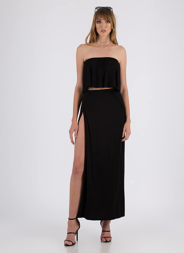 Sunday Slits Strapless Top And Skirt Set BLACK