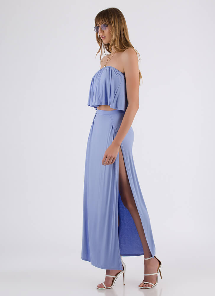 Sunday Slits Strapless Top And Skirt Set BLUE
