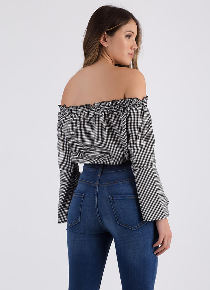 Rose Up Off-Shoulder Gingham Crop Top BLACK