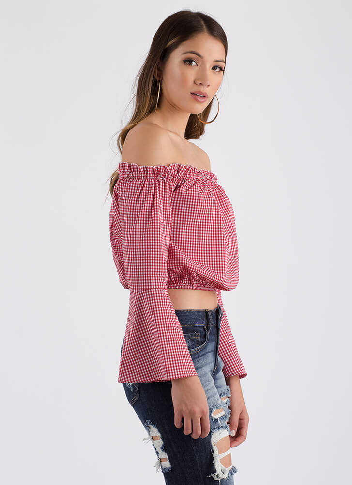Rose Up Off-Shoulder Gingham Crop Top RED