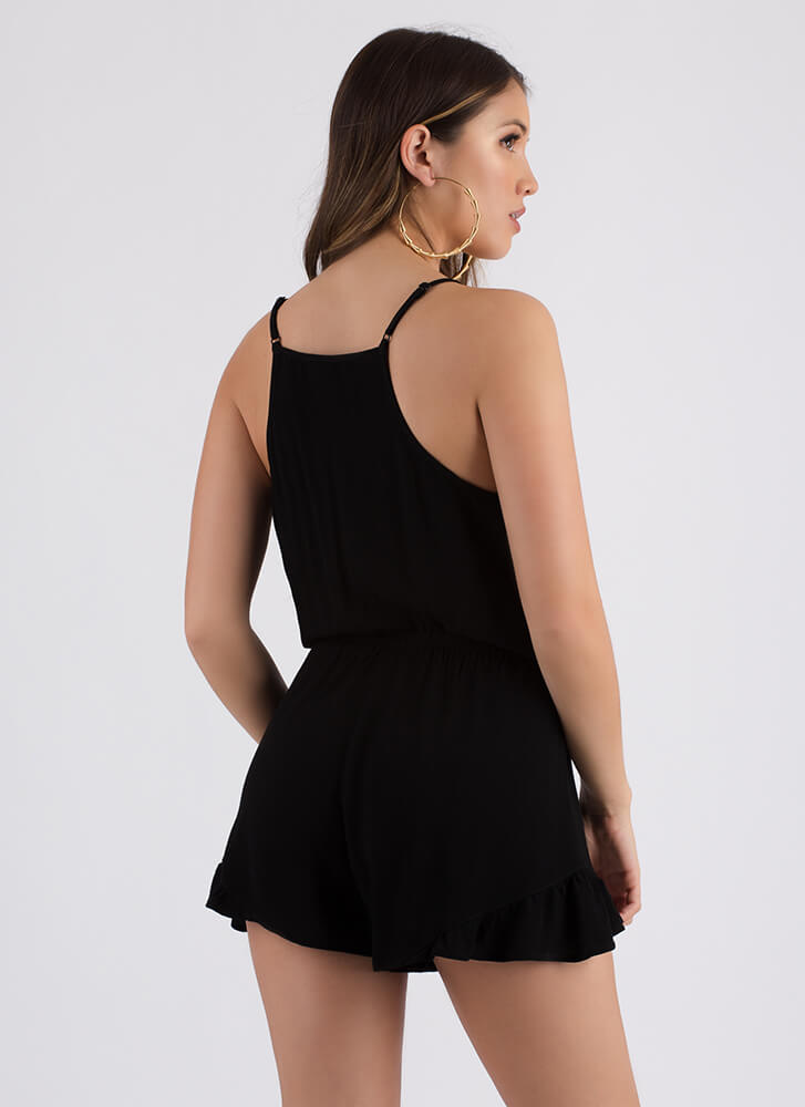 Can You Frill The Love Ruffled Romper BLACK