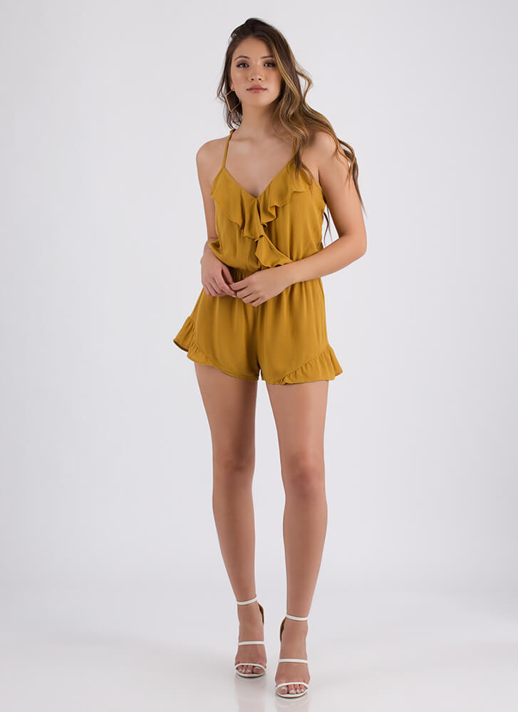 Can You Frill The Love Ruffled Romper MUSTARD
