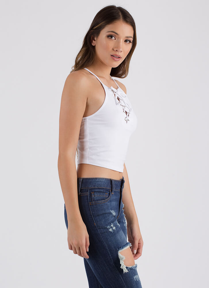 One Short Day Lace-Up Racerback Tank WHITE