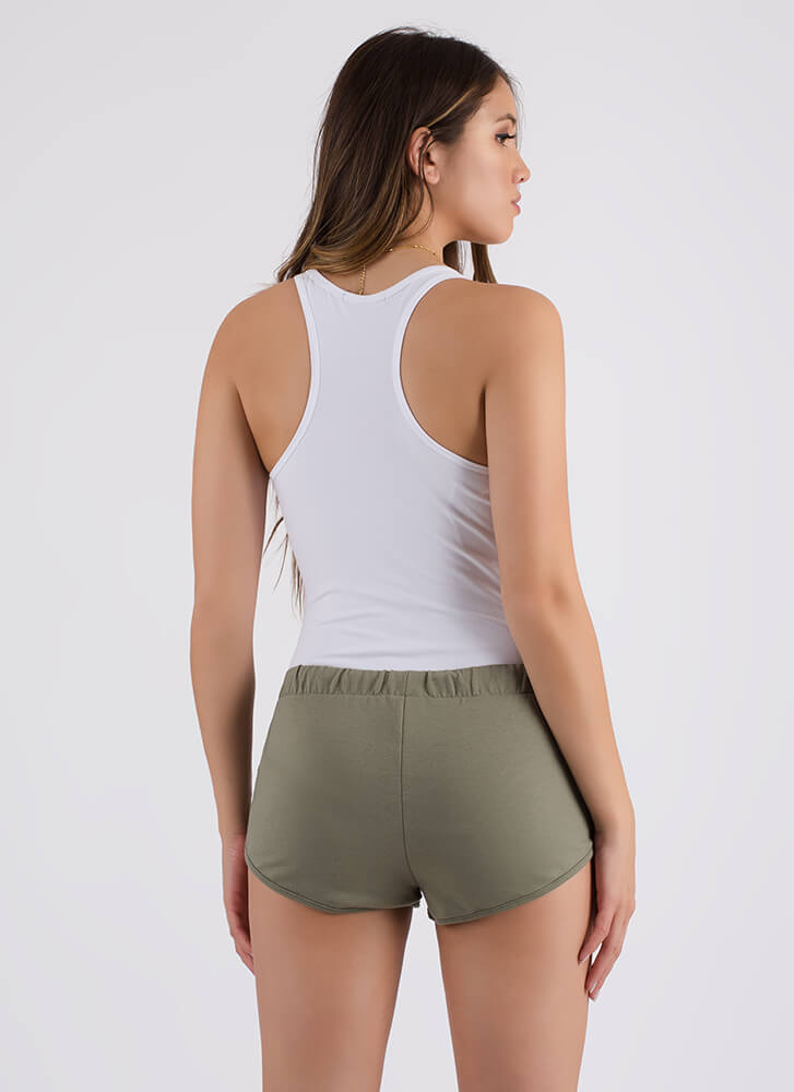 Gym Selfie Low-Rise Drawstring Shorts OLIVE (Final Sale)