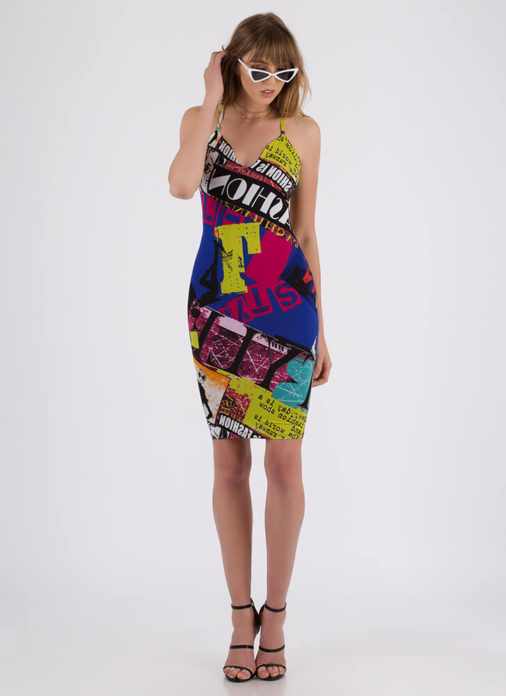 Walking Billboard Text Print Midi Dress MULTI