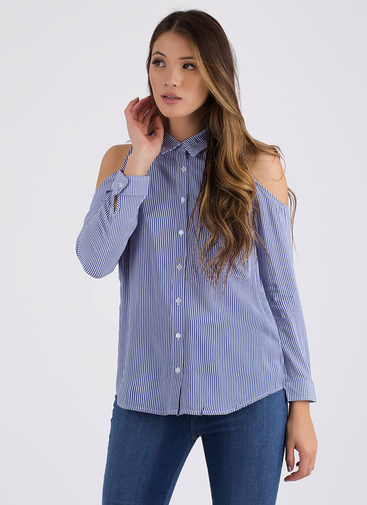 Serious Stripes Cold-Shoulder Button-Up DKBLUEWHITE