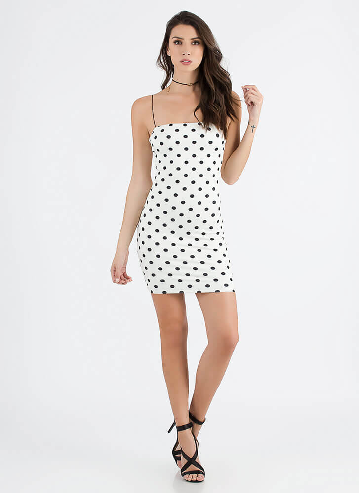 Claim Your Spots Polka Dot Minidress WHITE (You Saved $16)