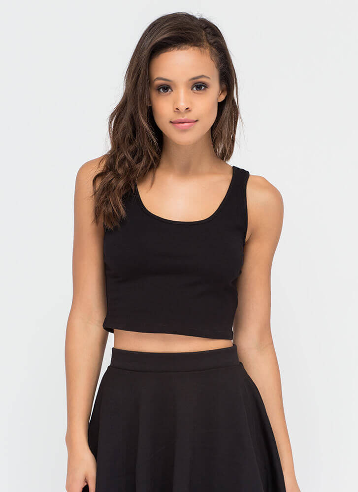 Solid Work Today Basic Cropped Tank BLACK