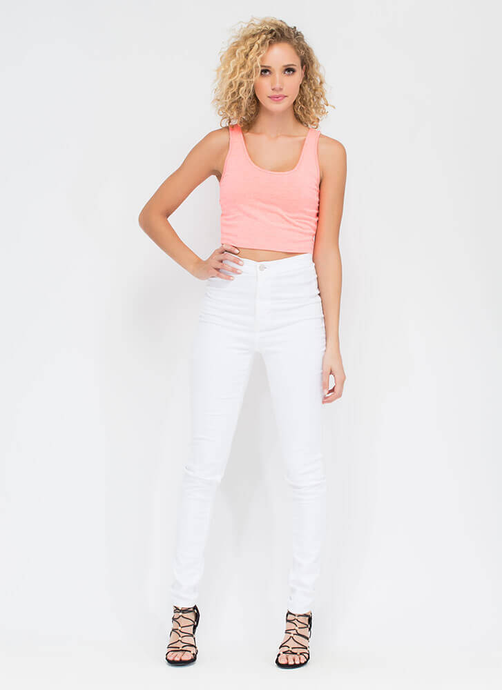 Solid Work Today Basic Cropped Tank CORAL