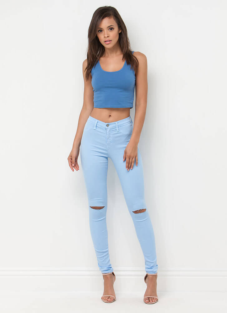 Solid Work Today Basic Cropped Tank DENIMBLUE