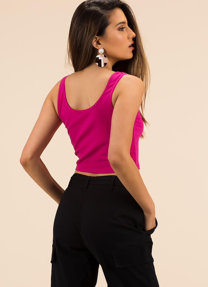 Solid Work Today Basic Cropped Tank FUCHSIA