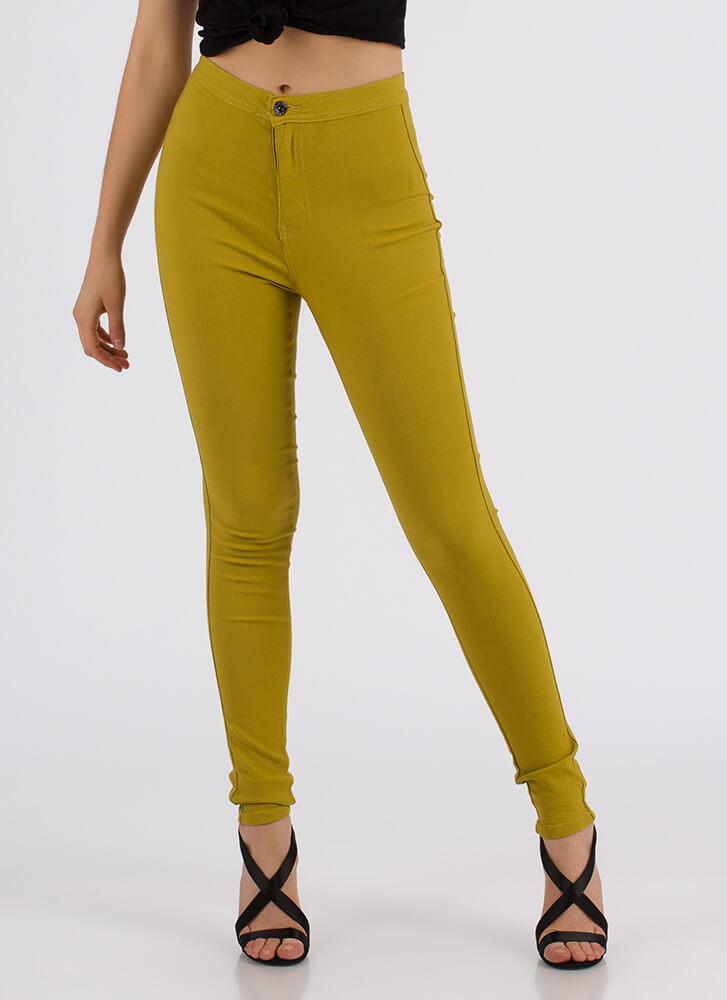 Perfect Finish High-Waisted Jeggings MUSTARD