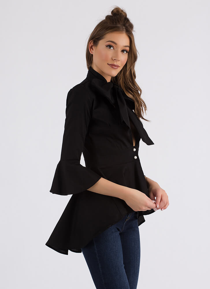 Bow Jane Tie-Front Peplum Blouse BLACK