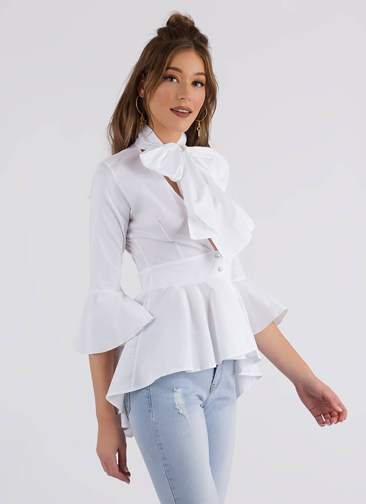 Bow Jane Tie-Front Peplum Blouse WHITE