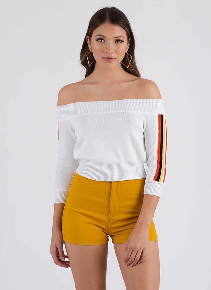 Stripe Now Off-Shoulder Sweater Top WHITE