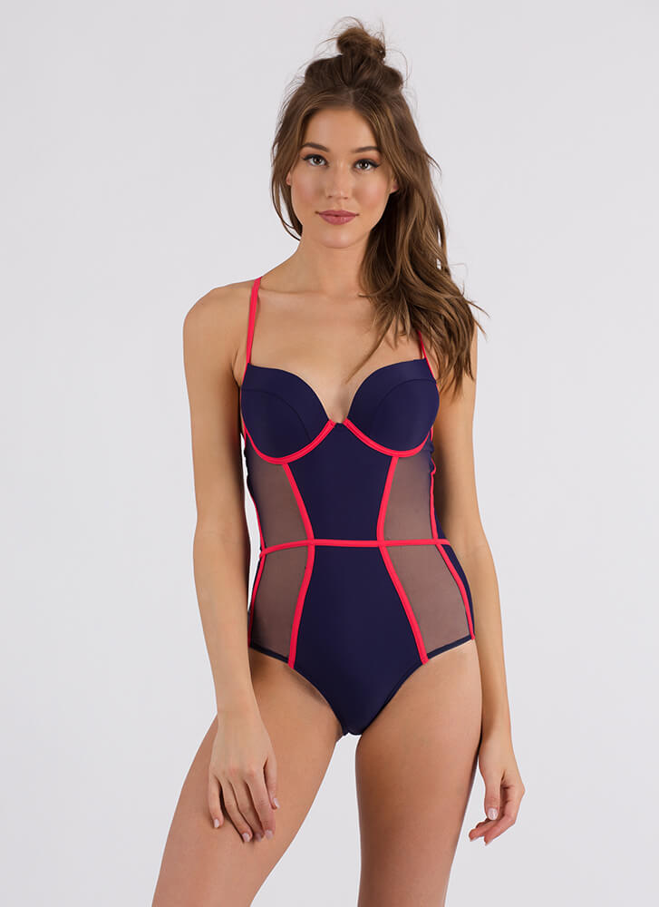 Sheer And Strappy Lace-Back Swimsuit NAVY (Final Sale)
