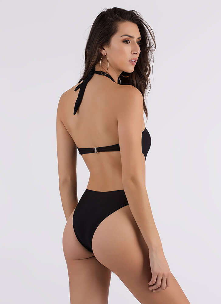 Cross Fire Strappy Cut-Out Swimsuit BLACK (Final Sale) (You Saved $31)