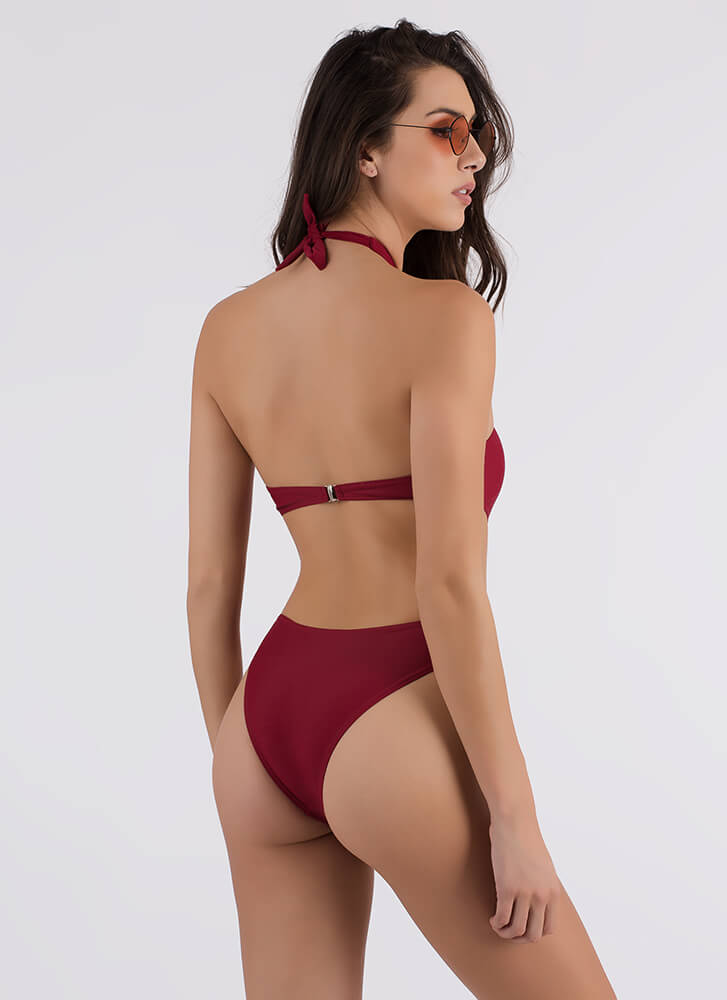 Cross Fire Strappy Cut-Out Swimsuit RED