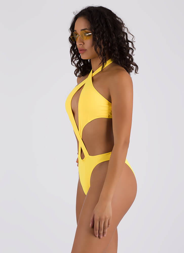 Cross Fire Strappy Cut-Out Swimsuit YELLOW (Final Sale) (You Saved $31)