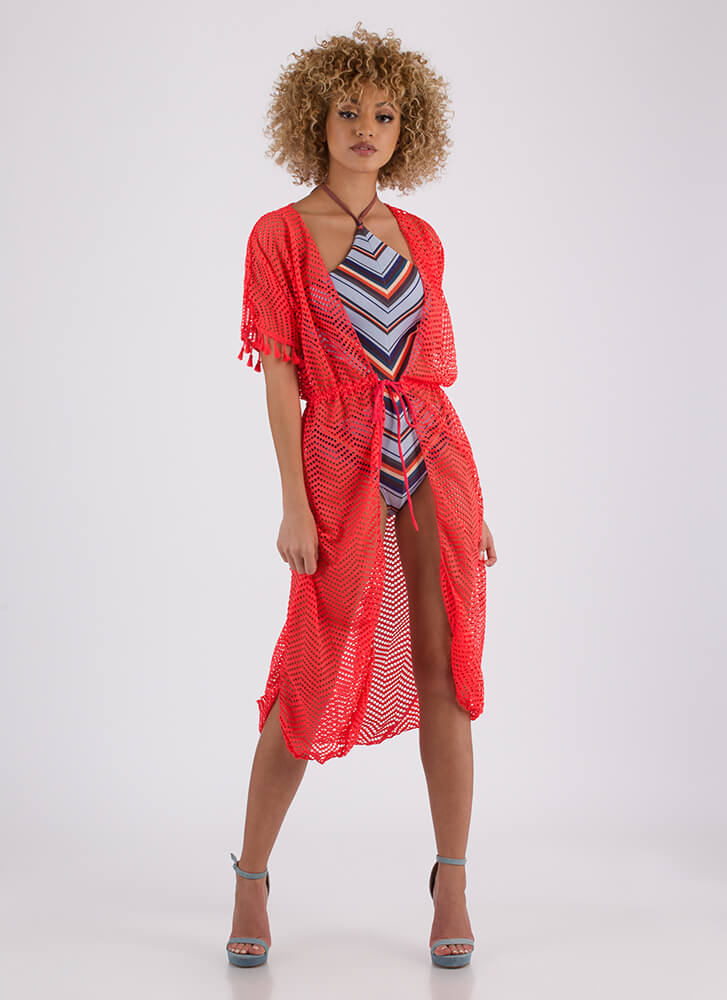 On Display Tasseled Swim Cover-Up CORAL