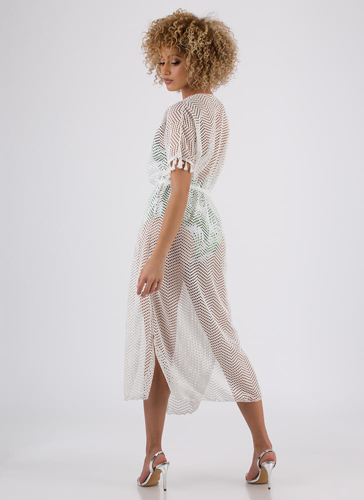 On Display Tasseled Swim Cover-Up WHITE