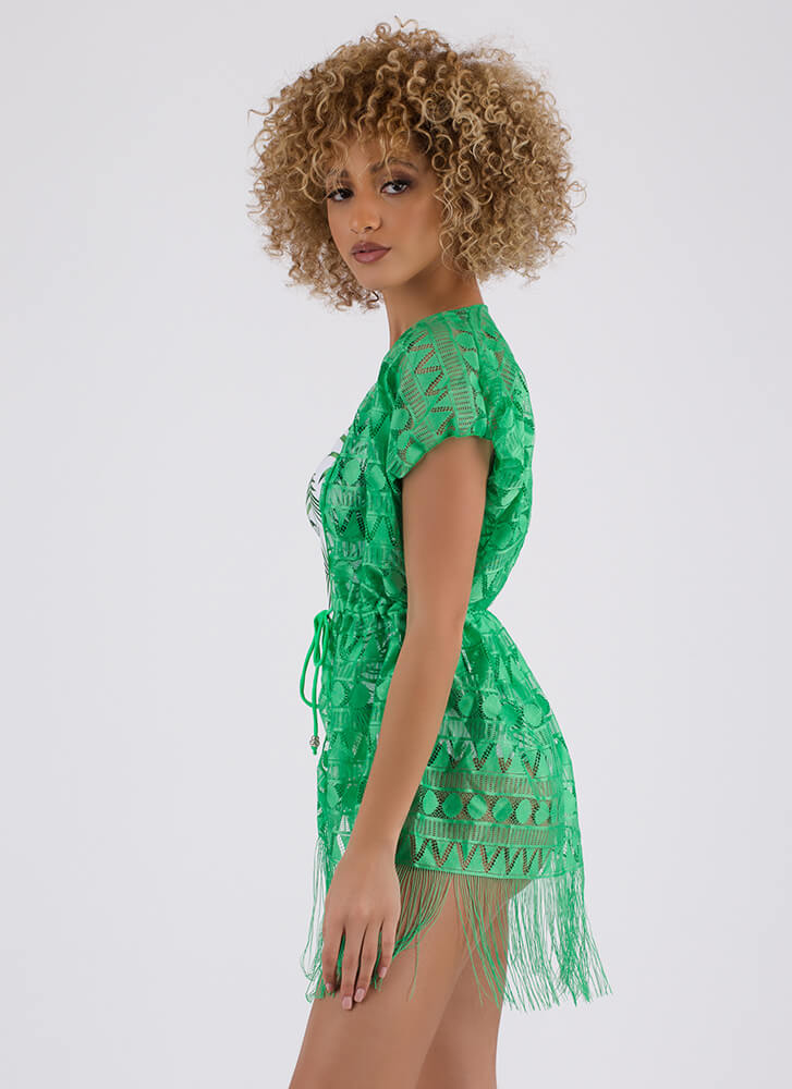 Pool Party Fringed Swim Cover-Up GREEN (Final Sale)