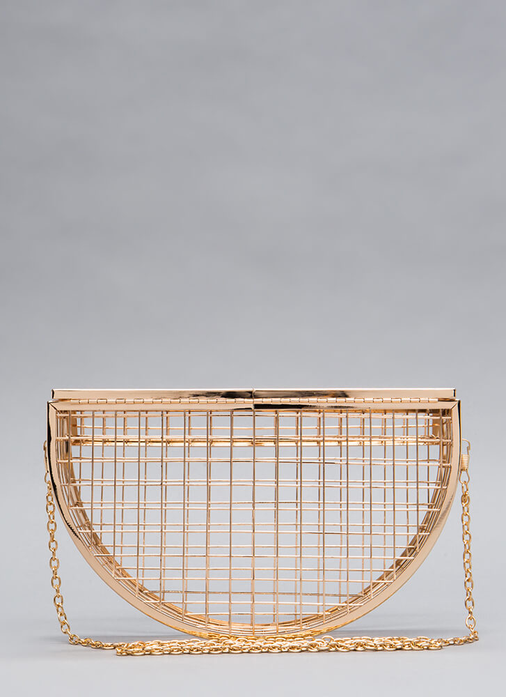 Grid To See You Caged Clutch GOLD