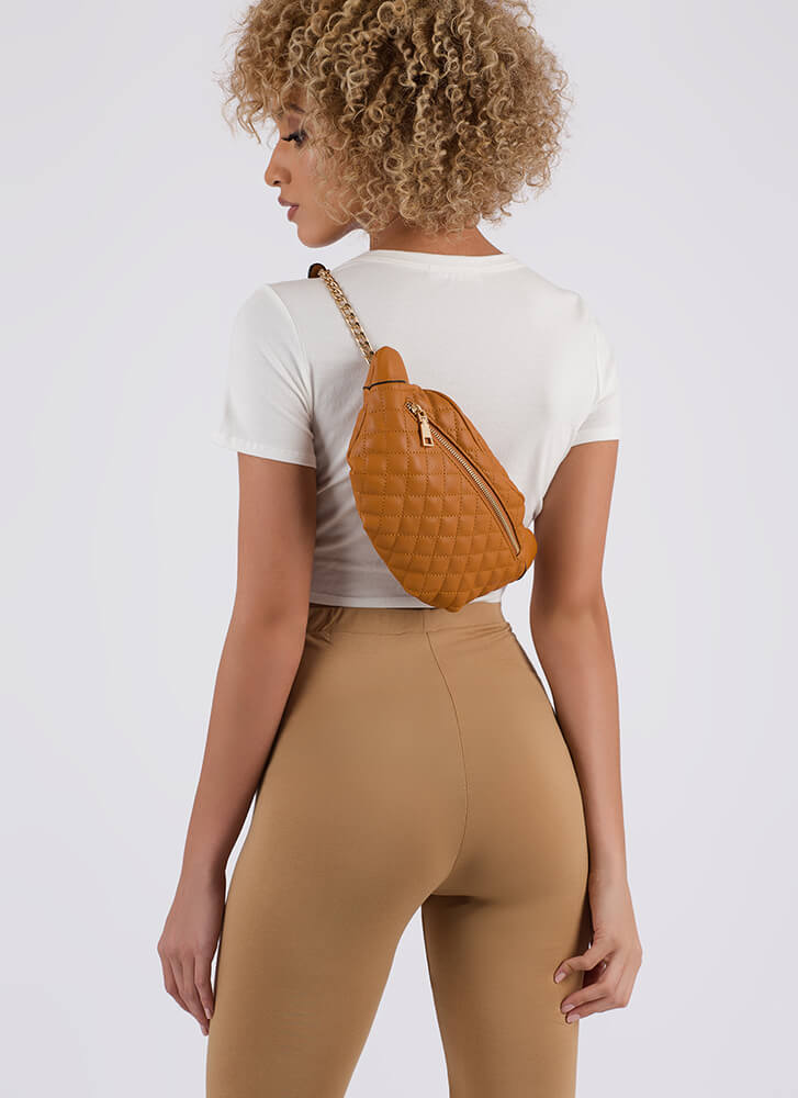 Total Makeover Quilted Fanny Pack COGNAC (Final Sale)