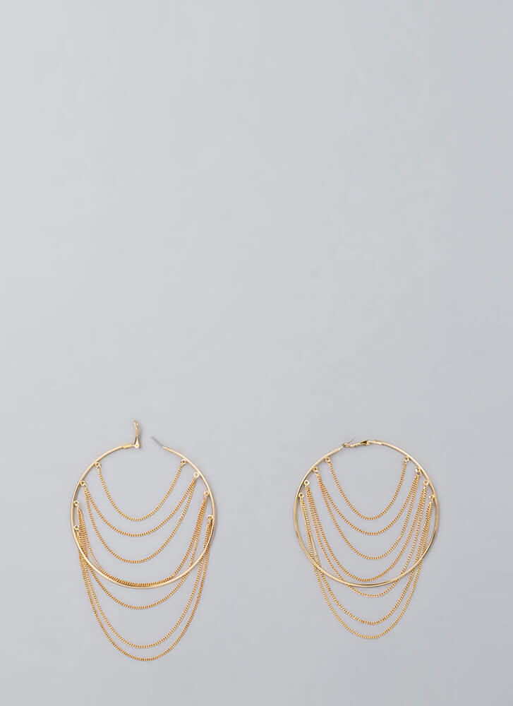 Magnificent Seven Draped Chain Hoops GOLD (Final Sale)