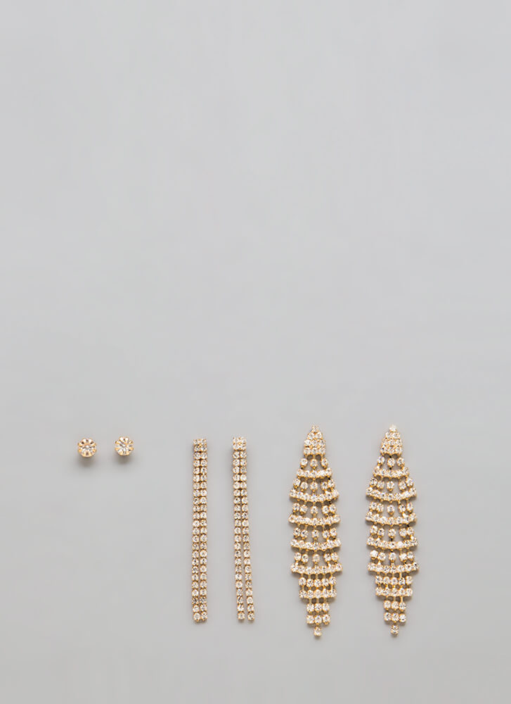 How Much Sparkle Jeweled Earring Set GOLD