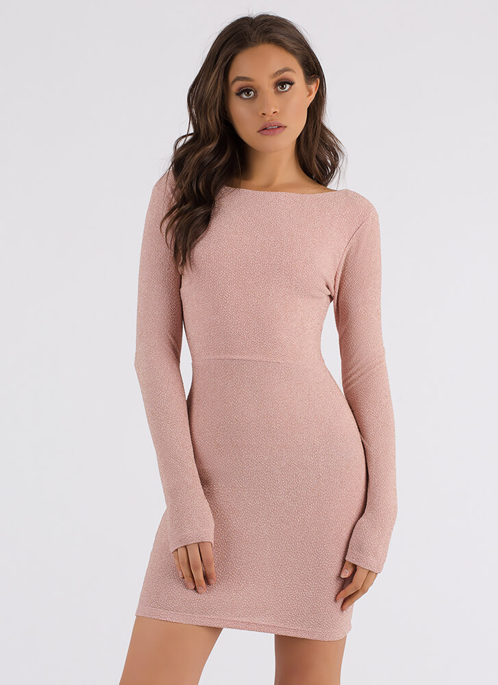 Glam In Glitter Strappy Back Dress PINK