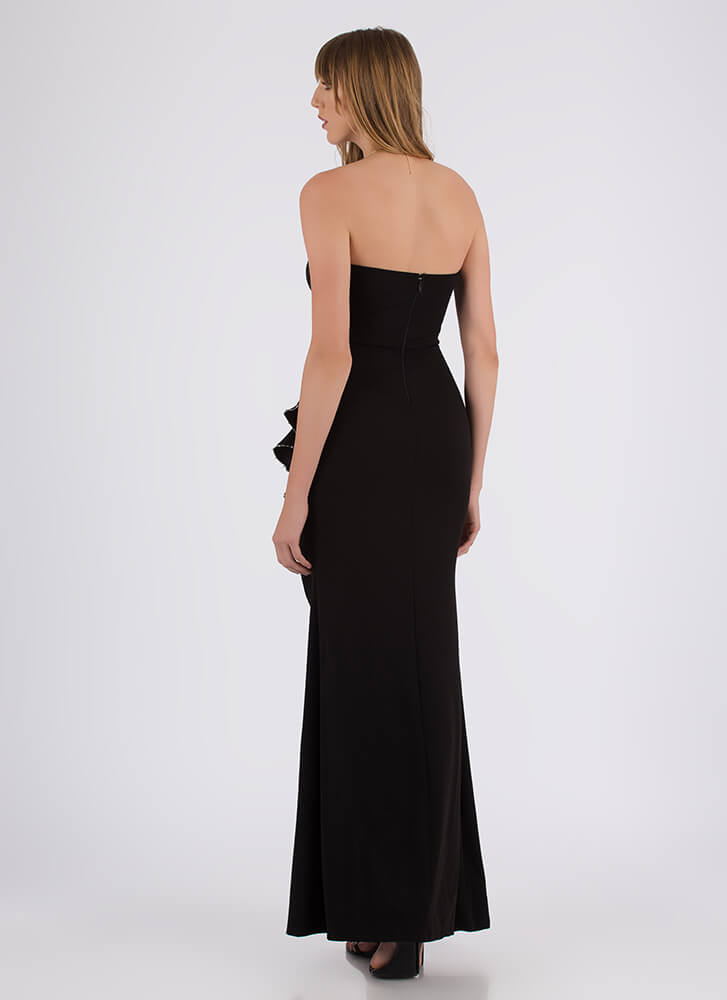 Cascading Down Ruffled Strapless Gown BLACK