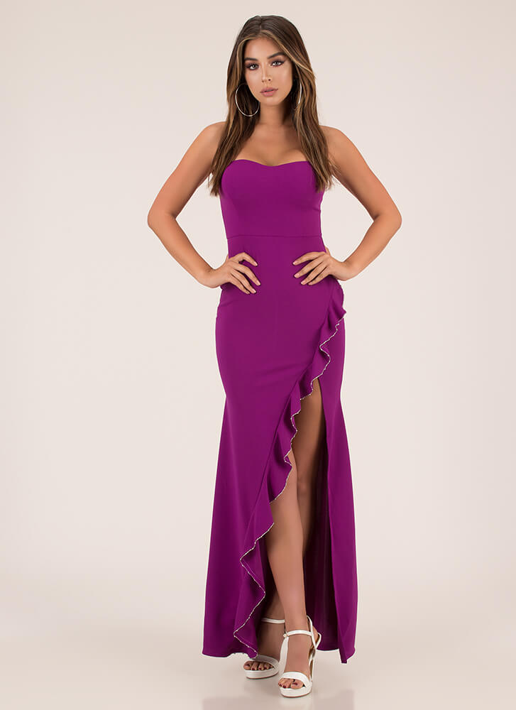 Cascading Down Ruffled Strapless Gown MAGENTA