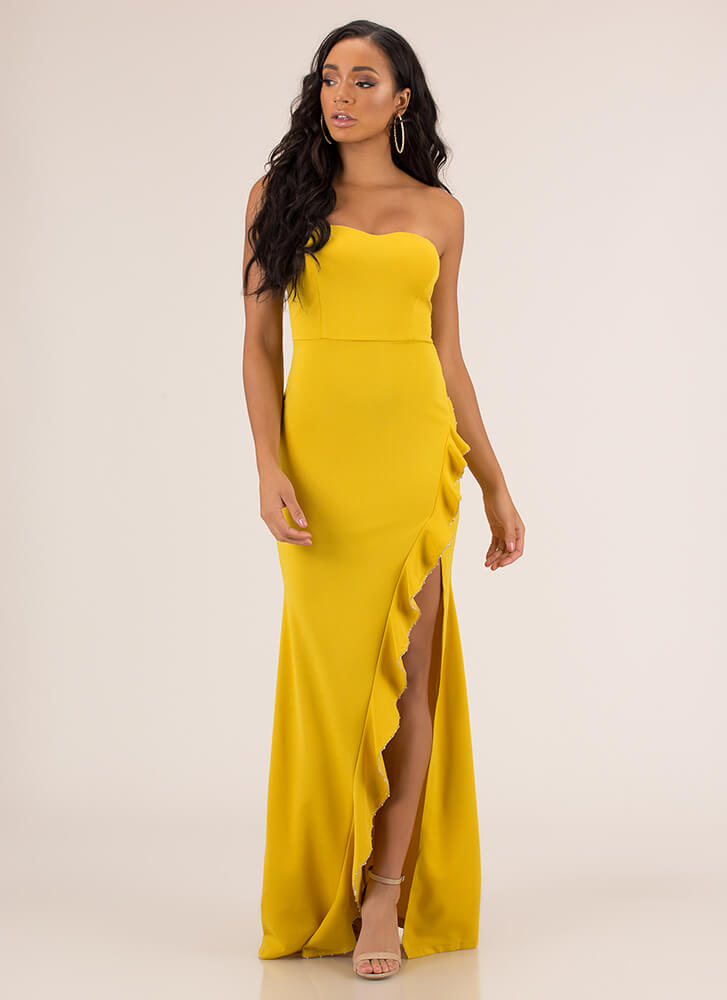 Cascading Down Ruffled Strapless Gown MUSTARD