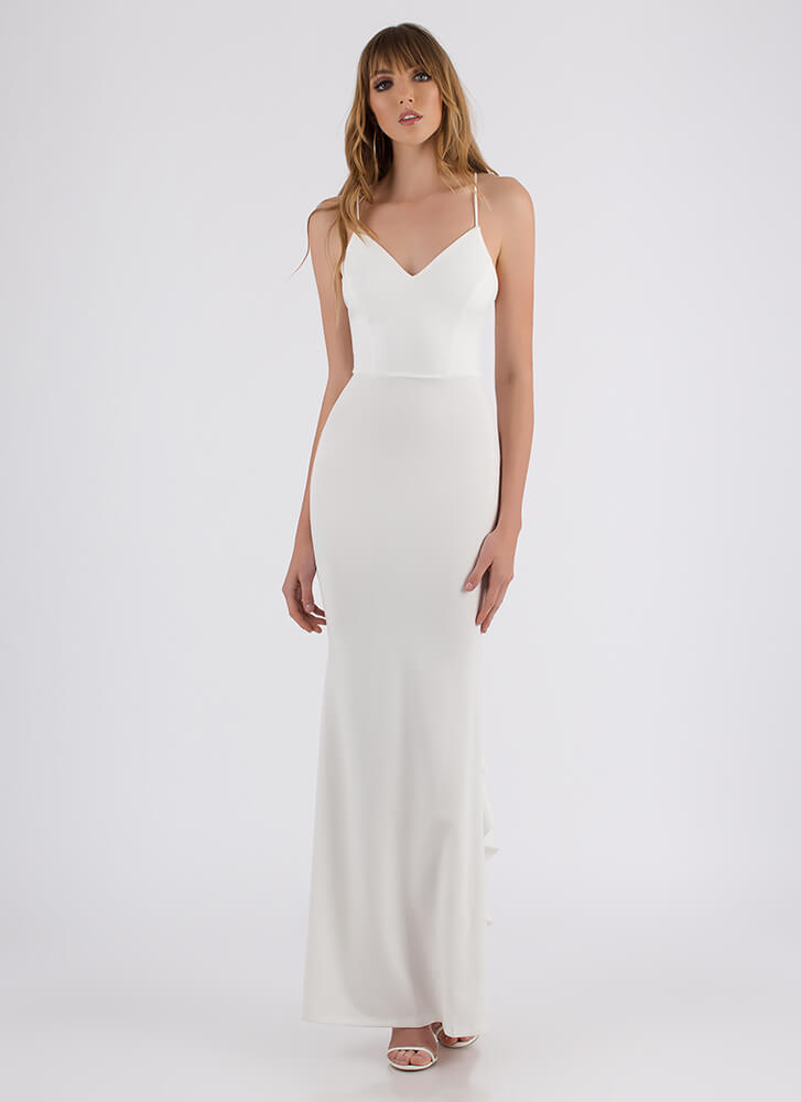 It Comes In Waves Ruffled Maxi Dress WHITE