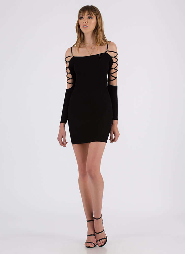 The Pursuit Of Strappyness Caged Dress BLACK