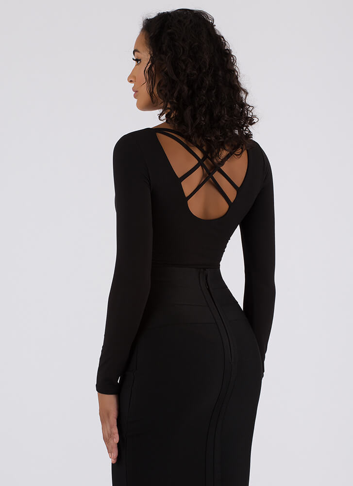 Strappiest Place On Earth Caged Bodysuit BLACK